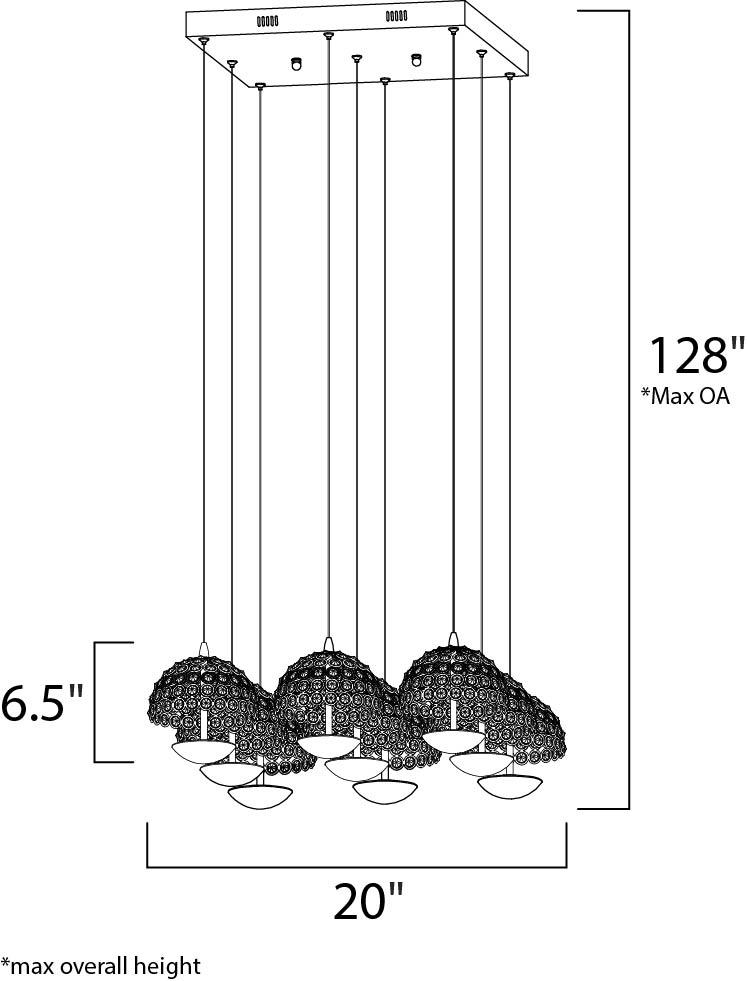 Parasol 9 Light Led Pendant Multi Light Pendant Maxim